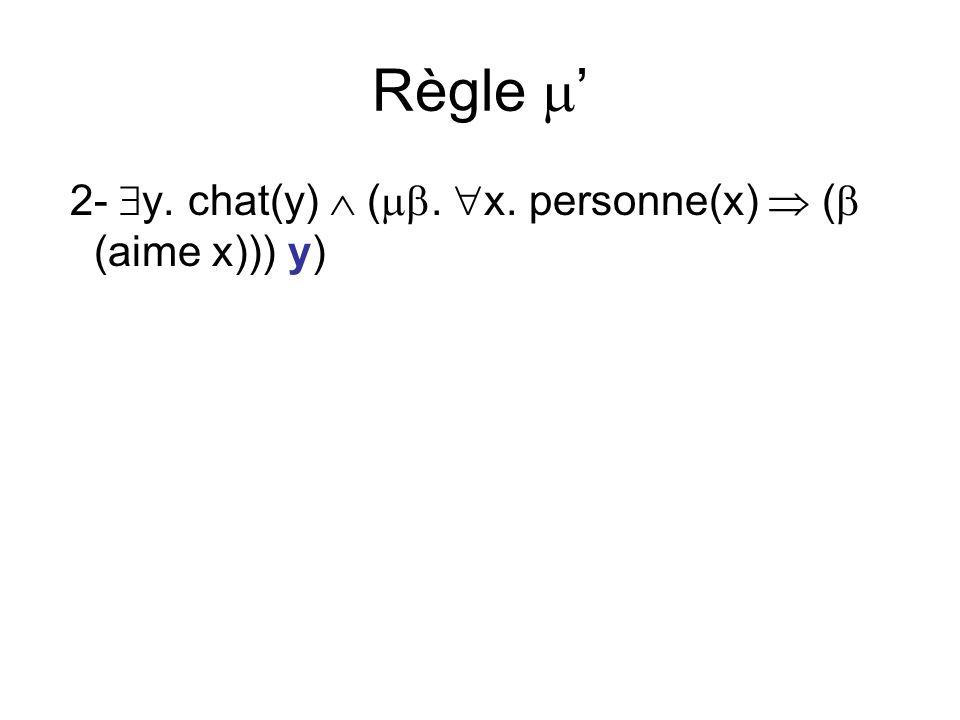 Règle 2- y. chat(y) (. x. personne(x) ( (aime x))) y)