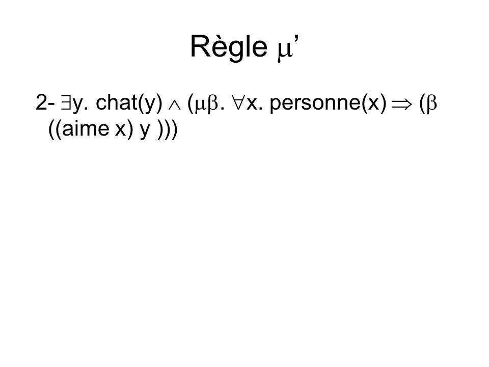 Règle 2- y. chat(y) (. x. personne(x) ( ((aime x) y )))