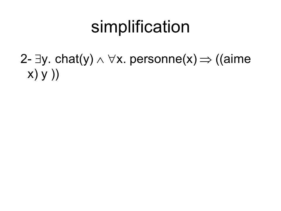 simplification 2- y. chat(y) x. personne(x) ((aime x) y ))