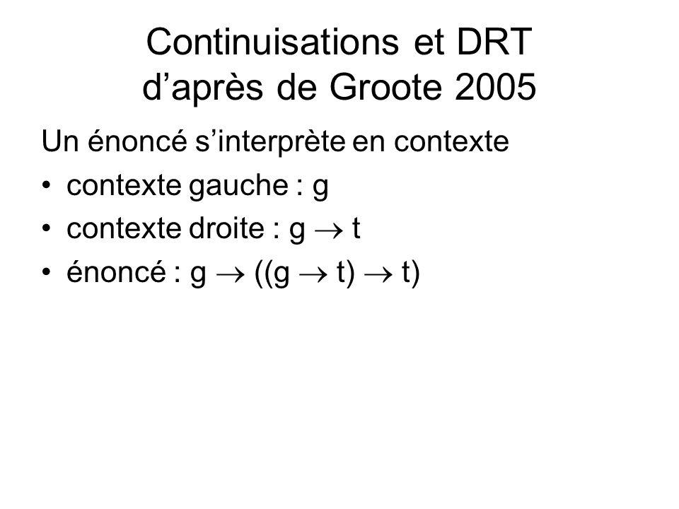 Continuisations et DRT daprès de Groote 2005 Un énoncé sinterprète en contexte contexte gauche : g contexte droite : g t énoncé : g ((g t) t)