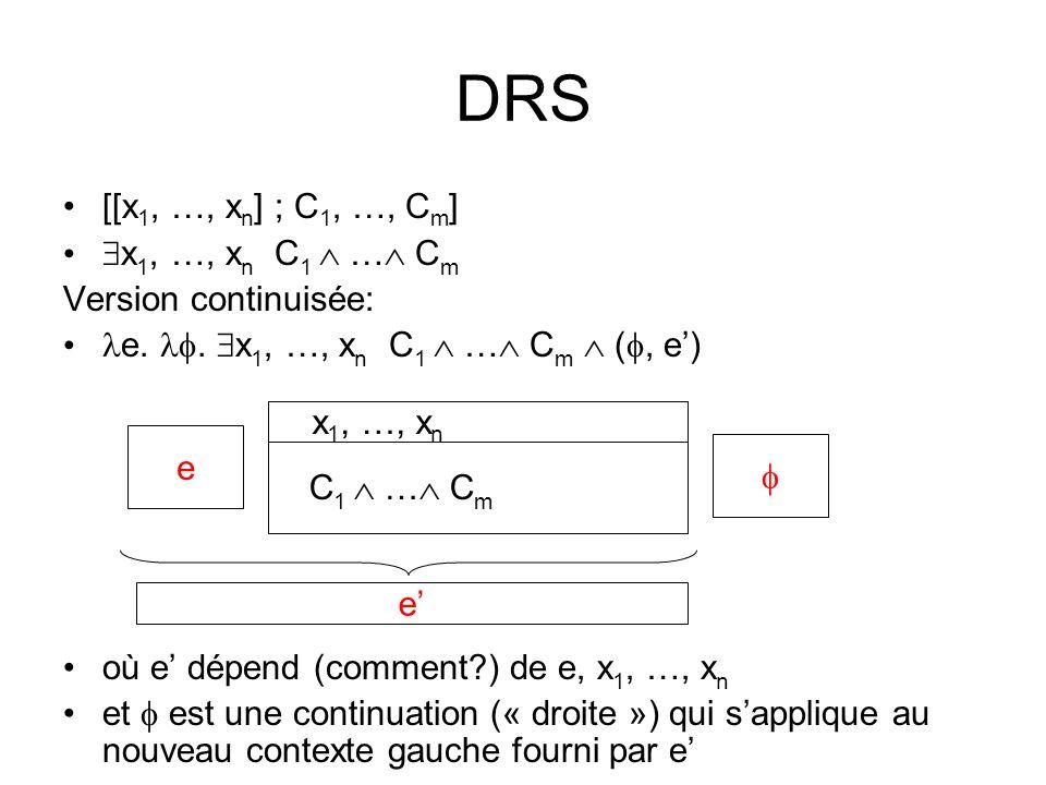 DRS [[x 1, …, x n ] ; C 1, …, C m ] x 1, …, x n C 1 … C m Version continuisée: e..