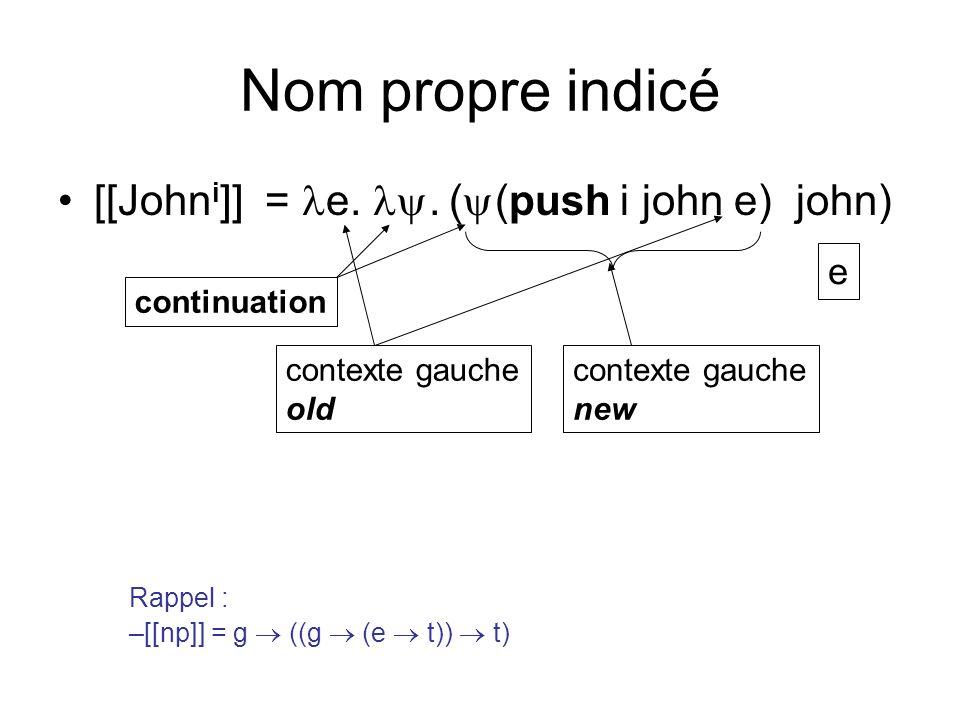 Nom propre indicé [[John i ]] = e..