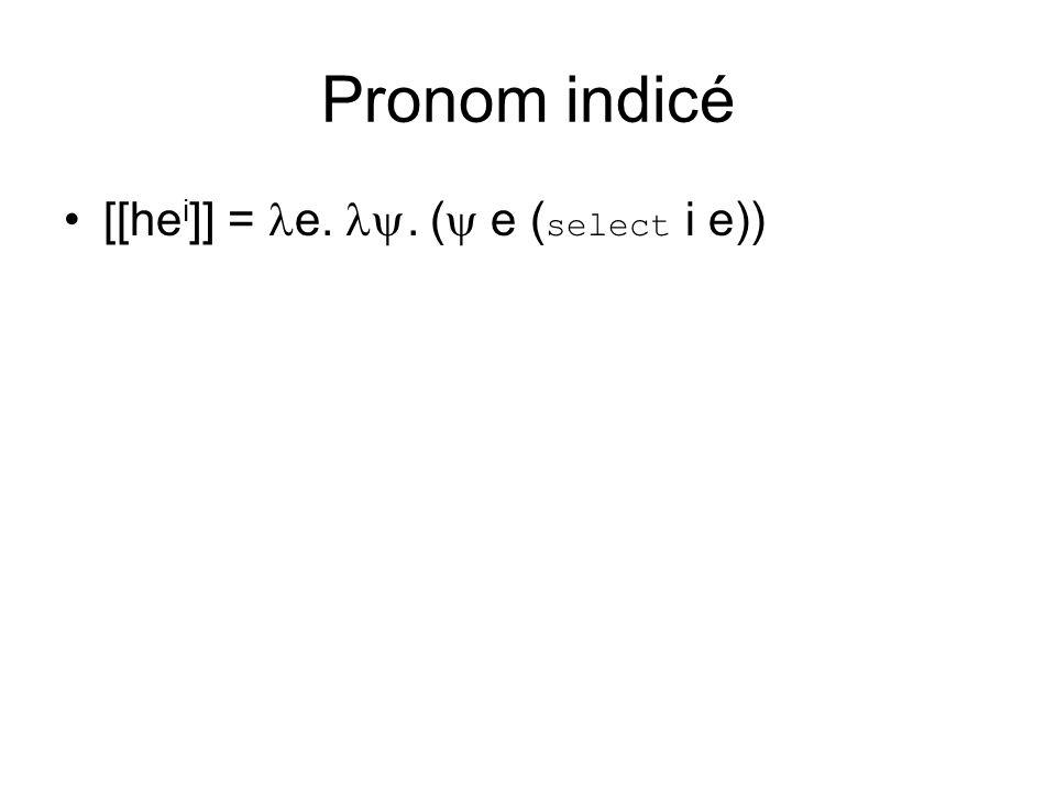 Pronom indicé [[he i ]] = e.. ( e ( select i e))