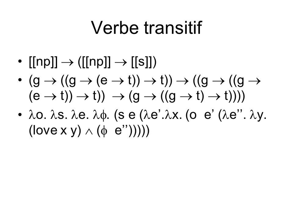 Verbe transitif [[np]] ([[np]] [[s]]) (g ((g (e t)) t)) ((g ((g (e t)) t)) (g ((g t) t)))) o.