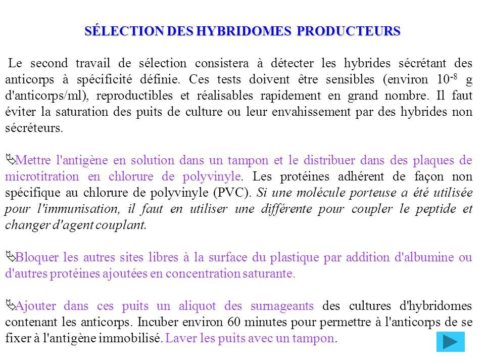 Le second travail de sélection consistera à détecter les hybrides sécrétant des anticorps à spécificité définie. Ces tests doivent être sensibles (env