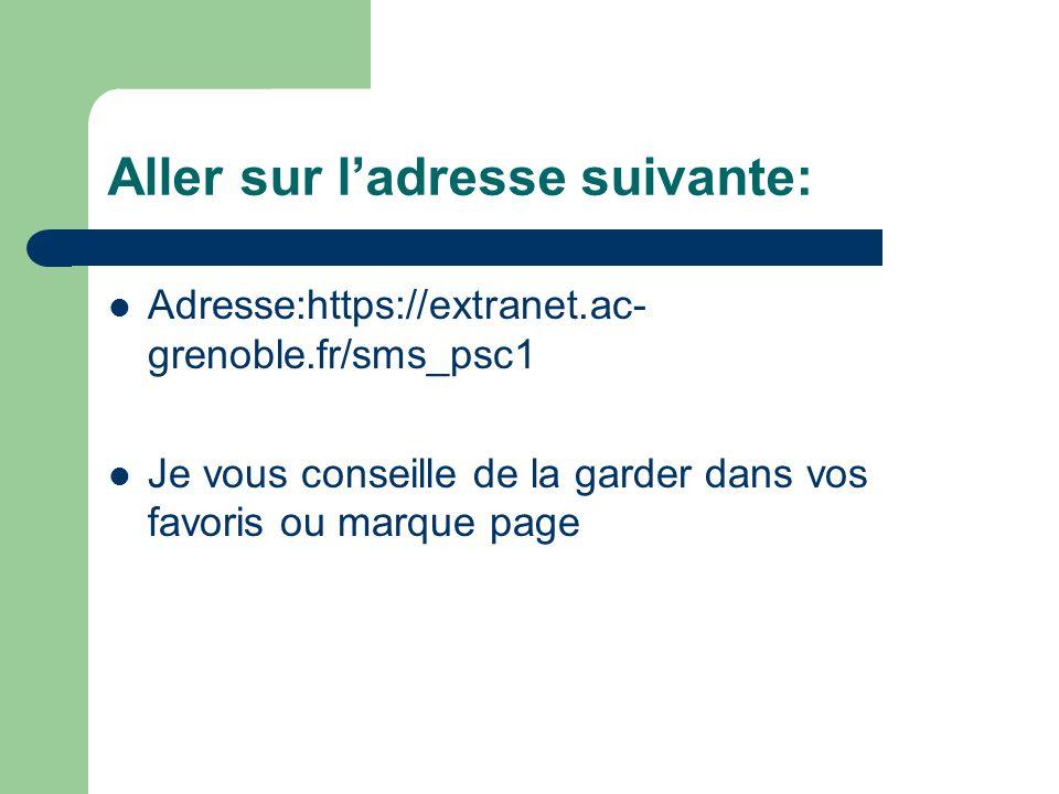 Aller sur ladresse suivante: Adresse:https://extranet.ac- grenoble.fr/sms_psc1 Je vous conseille de la garder dans vos favoris ou marque page