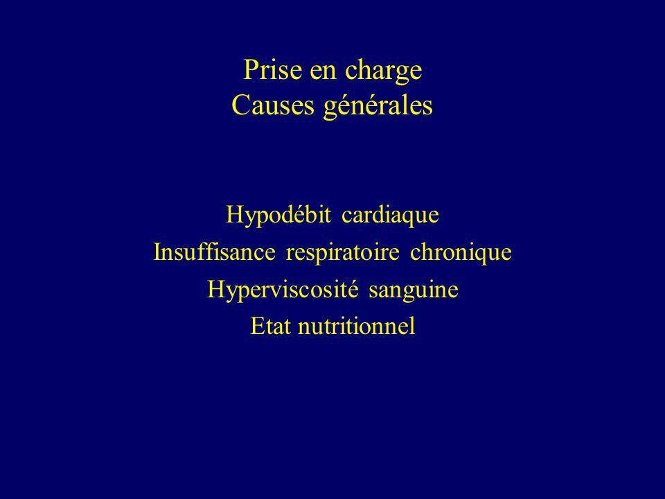Prise en charge Causes générales Hypodébit cardiaque Insuffisance respiratoire chronique Hyperviscosité sanguine Etat nutritionnel