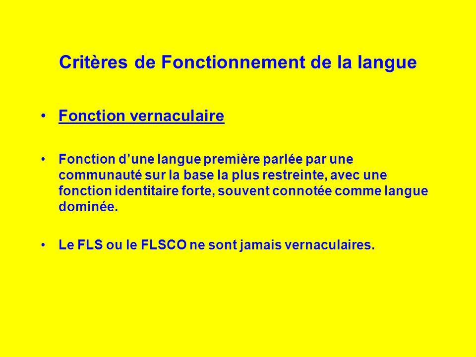 Critères de Fonctionnement de la langue Fonction vernaculaire Fonction dune langue première parlée par une communauté sur la base la plus restreinte,