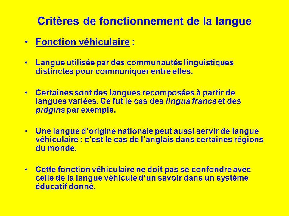 Critères de fonctionnement de la langue Fonction véhiculaire : Langue utilisée par des communautés linguistiques distinctes pour communiquer entre ell