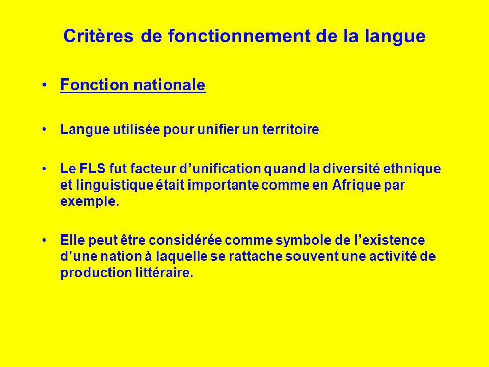 Critères de fonctionnement de la langue Fonction nationale Langue utilisée pour unifier un territoire Le FLS fut facteur dunification quand la diversi