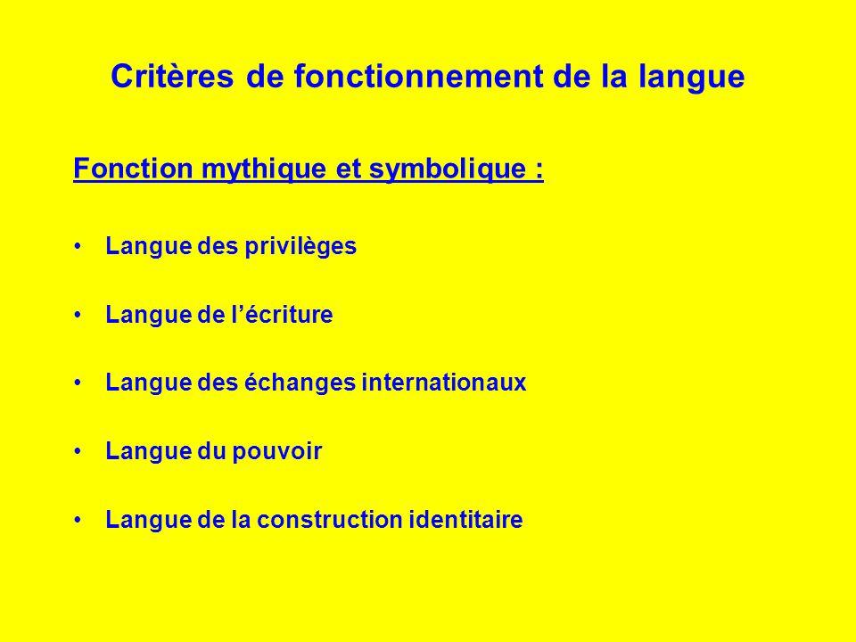 Critères de fonctionnement de la langue Fonction mythique et symbolique : Langue des privilèges Langue de lécriture Langue des échanges internationaux