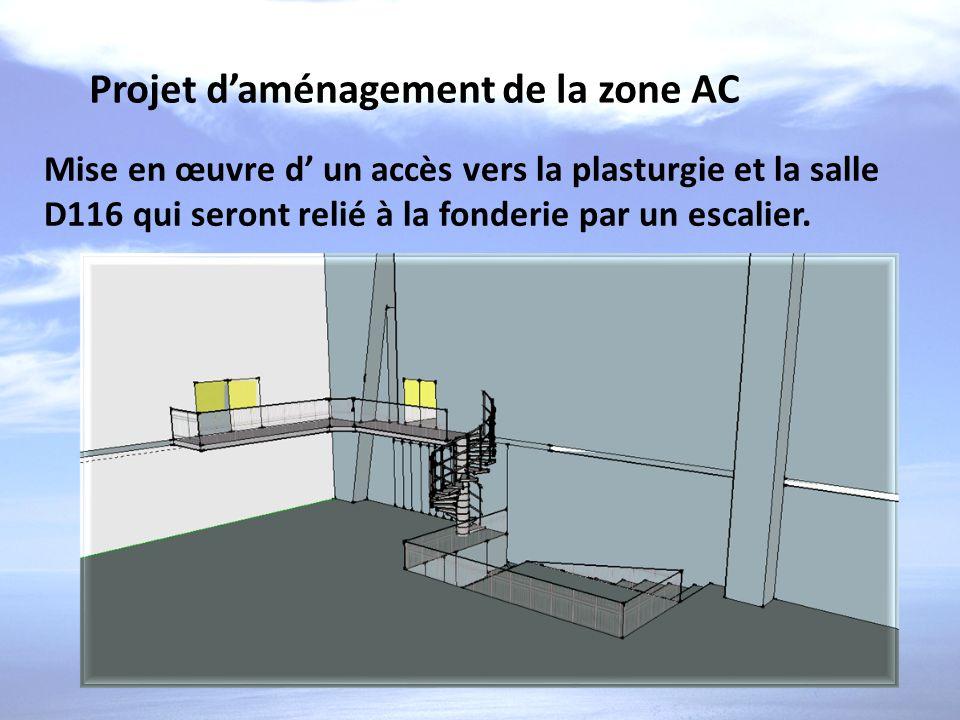 Projet daménagement de la zone AC Mise en œuvre d un accès vers la plasturgie et la salle D116 qui seront relié à la fonderie par un escalier.