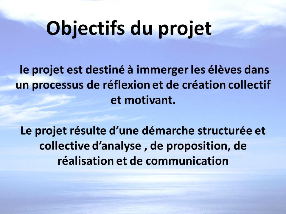Objectifs du projet le projet est destiné à immerger les élèves dans un processus de réflexion et de création collectif et motivant. Le projet résulte