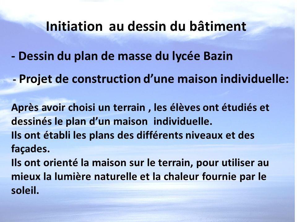 Initiation au dessin du bâtiment - Dessin du plan de masse du lycée Bazin - Projet de construction dune maison individuelle: Après avoir choisi un ter