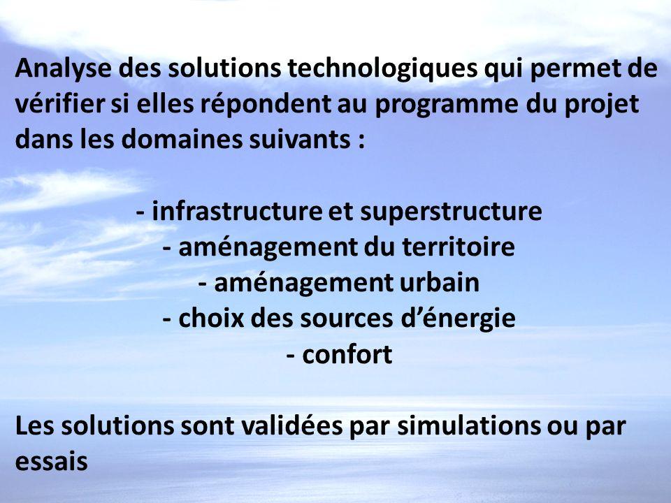 Analyse des solutions technologiques qui permet de vérifier si elles répondent au programme du projet dans les domaines suivants : - infrastructure et
