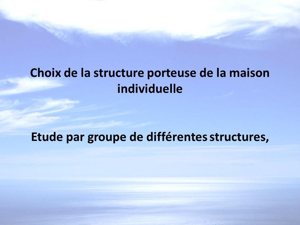 Choix de la structure porteuse de la maison individuelle Etude par groupe de différentes structures,