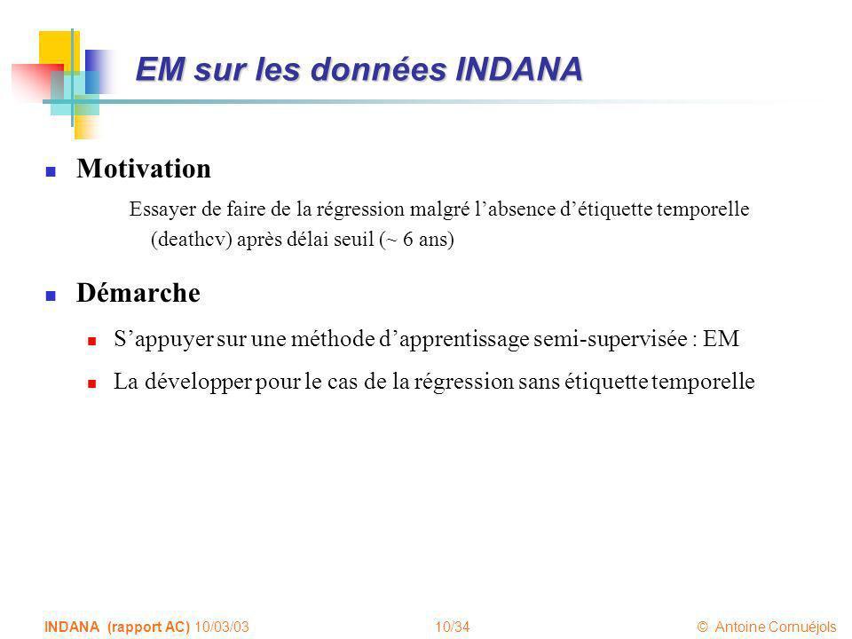 10/34 © Antoine Cornuéjols INDANA (rapport AC) 10/03/03 EM sur les données INDANA Motivation Essayer de faire de la régression malgré labsence détique