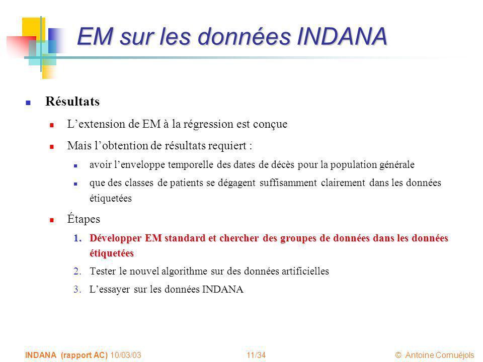 11/34 © Antoine Cornuéjols INDANA (rapport AC) 10/03/03 EM sur les données INDANA Résultats Lextension de EM à la régression est conçue Mais lobtentio