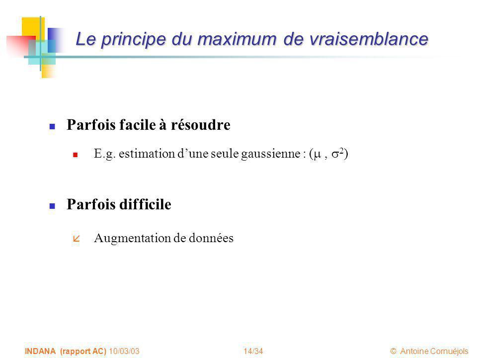 14/34 © Antoine Cornuéjols INDANA (rapport AC) 10/03/03 Le principe du maximum de vraisemblance Parfois facile à résoudre E.g. estimation dune seule g