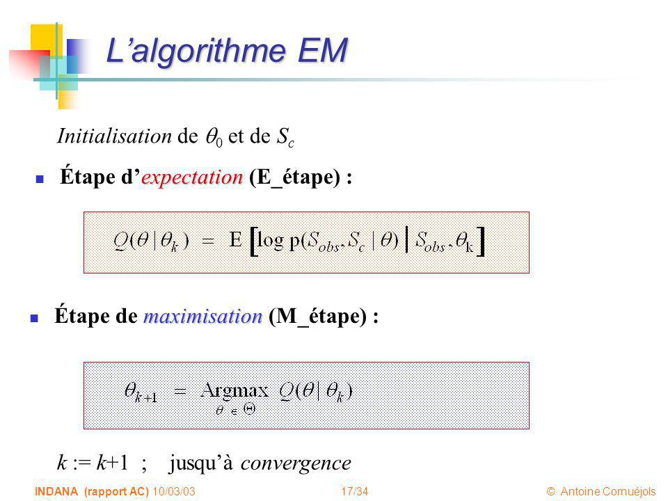 17/34 © Antoine Cornuéjols INDANA (rapport AC) 10/03/03 Lalgorithme EM expectation Étape dexpectation (E_étape) : maximisation Étape de maximisation (