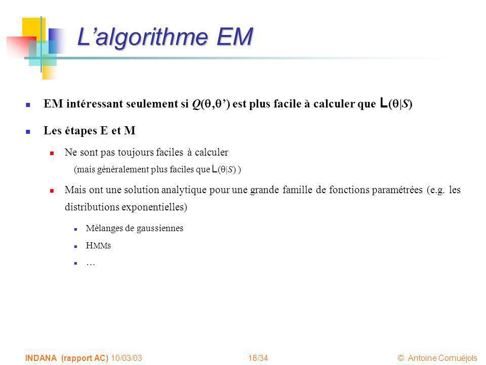 18/34 © Antoine Cornuéjols INDANA (rapport AC) 10/03/03 Lalgorithme EM EM intéressant seulement si Q( ) est plus facile à calculer que L ( |S) Les éta