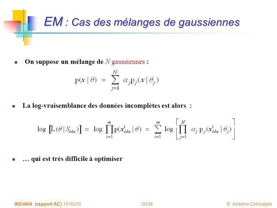 20/34 © Antoine Cornuéjols INDANA (rapport AC) 10/03/03 EM : Cas des mélanges de gaussiennes On suppose un mélange de N gaussiennes : La log-vraisembl