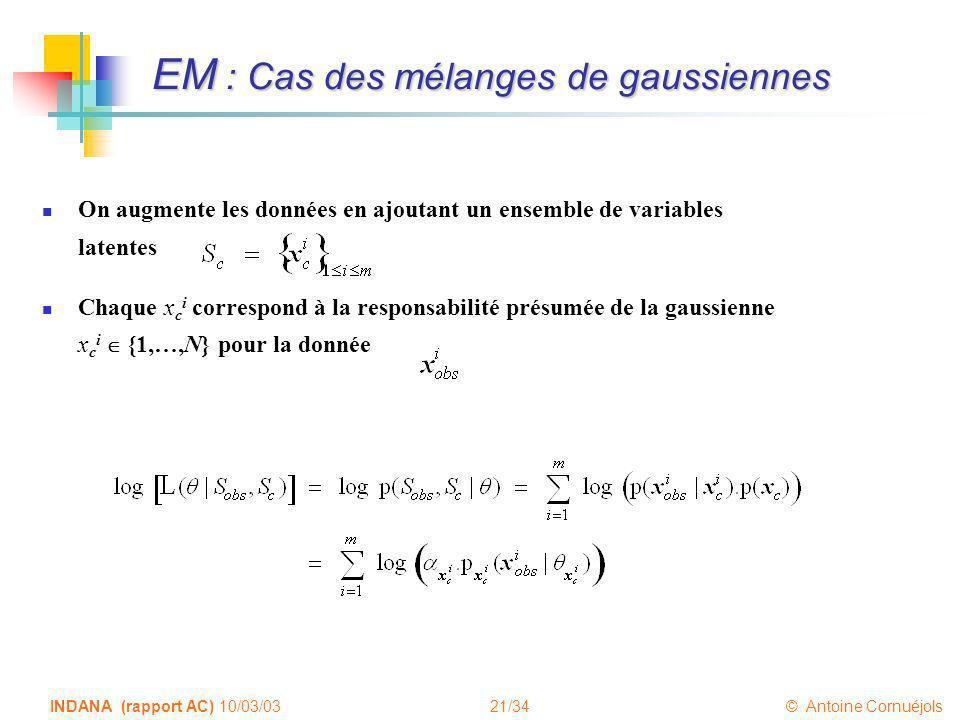 21/34 © Antoine Cornuéjols INDANA (rapport AC) 10/03/03 EM : Cas des mélanges de gaussiennes On augmente les données en ajoutant un ensemble de variab