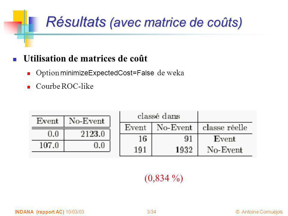 3/34 © Antoine Cornuéjols INDANA (rapport AC) 10/03/03 Résultats (avec matrice de coûts) Utilisation de matrices de coût Option minimizeExpectedCost=F