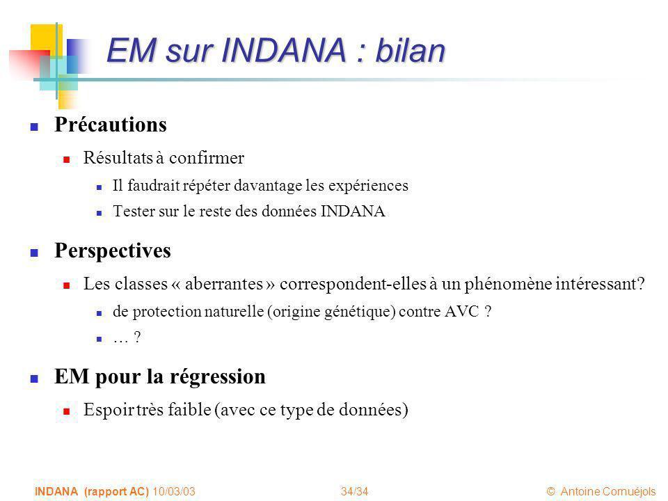34/34 © Antoine Cornuéjols INDANA (rapport AC) 10/03/03 EM sur INDANA : bilan Précautions Résultats à confirmer Il faudrait répéter davantage les expé