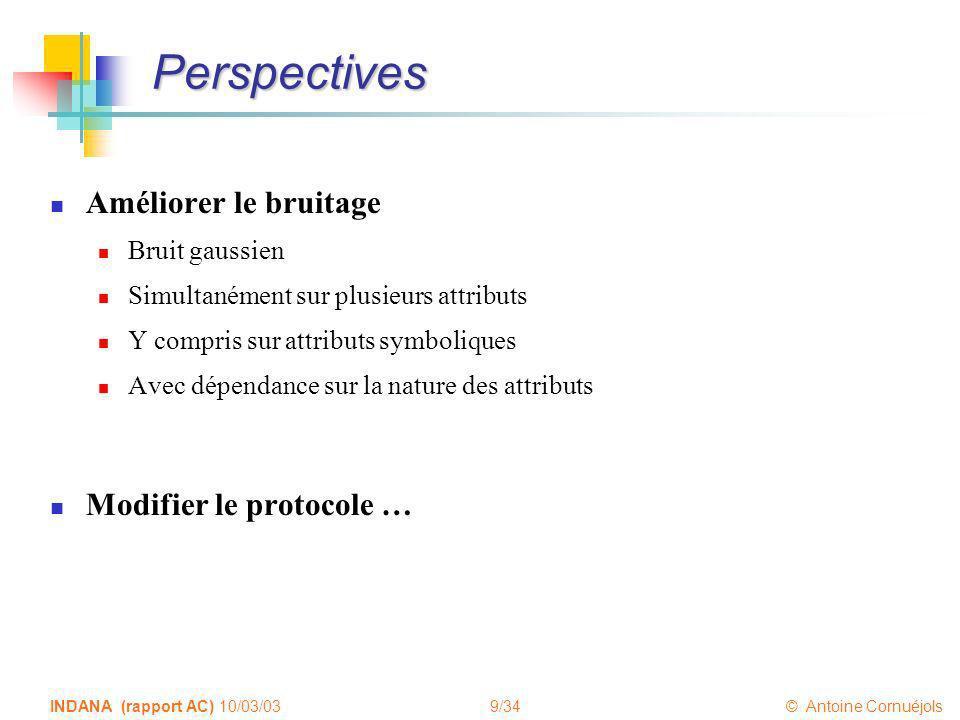 9/34 © Antoine Cornuéjols INDANA (rapport AC) 10/03/03 Perspectives Améliorer le bruitage Bruit gaussien Simultanément sur plusieurs attributs Y compr