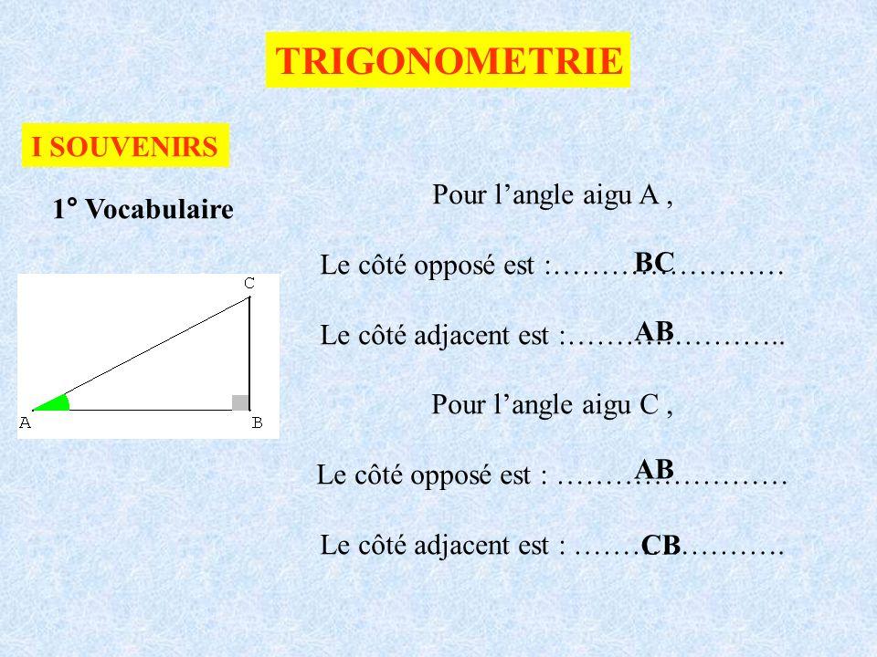 TRIGONOMETRIE I SOUVENIRS 1° Vocabulaire Pour langle aigu A, Le côté opposé est :…………………… Le côté adjacent est :………………….. Pour langle aigu C, Le côté