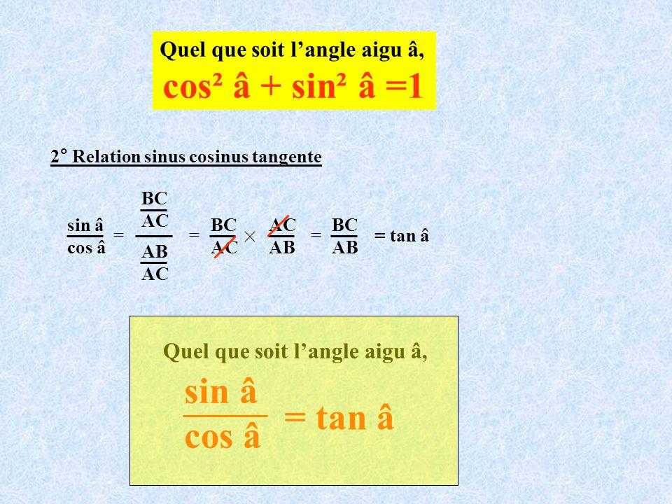 Quel que soit langle aigu â, cos² â + sin² â =1 2° Relation sinus cosinus tangente = = BC AC AB = BC AB = tan â sin â cos â AB AC BC AC Quel que soit
