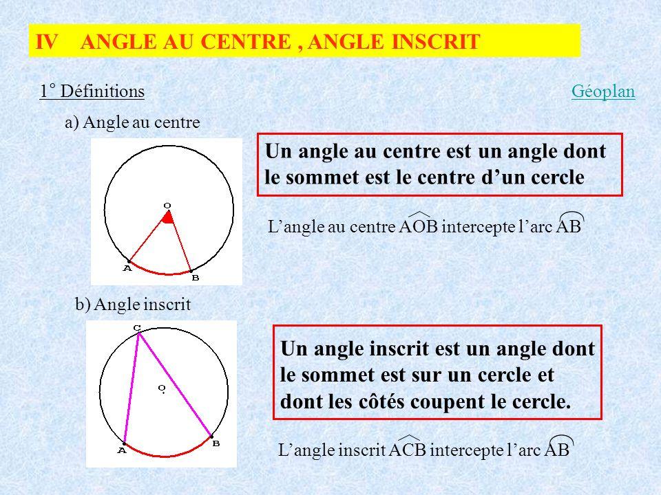 IV ANGLE AU CENTRE, ANGLE INSCRIT 1° Définitions a) Angle au centre Un angle au centre est un angle dont le sommet est le centre dun cercle Langle au