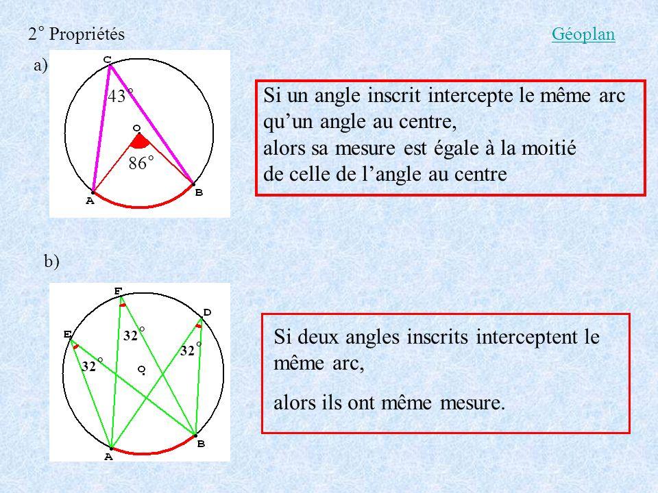 2° Propriétés Si un angle inscrit intercepte le même arc quun angle au centre, alors sa mesure est égale à la moitié de celle de langle au centre a) b