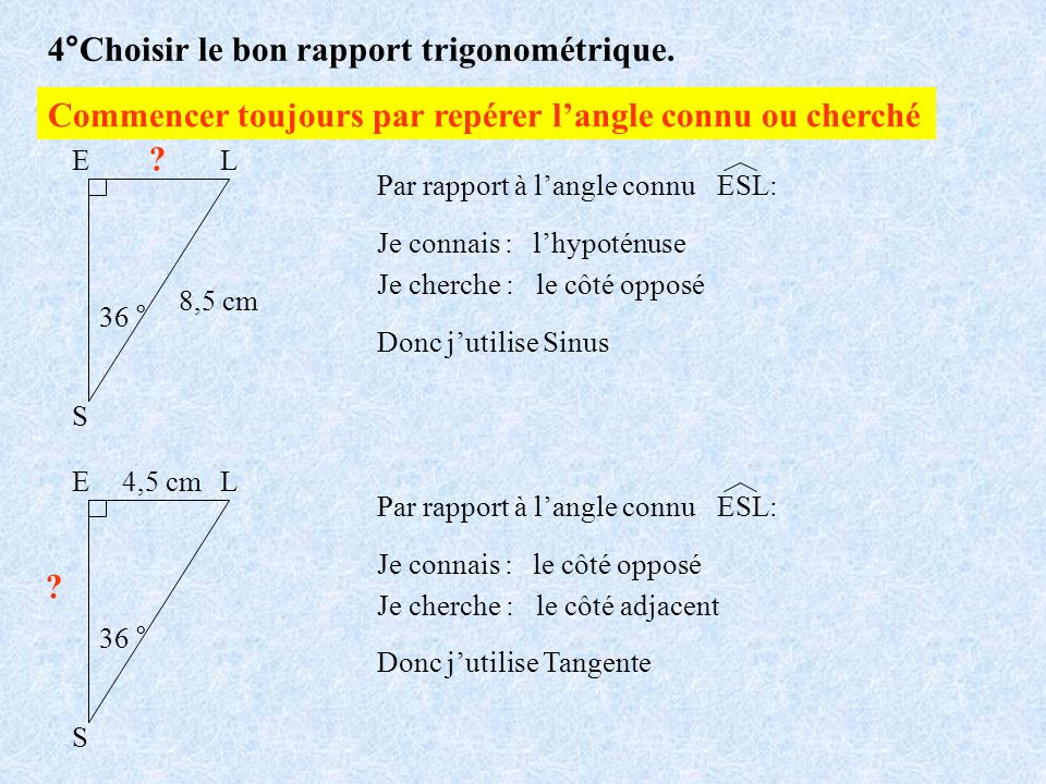 4°Choisir le bon rapport trigonométrique. S EL 36 ° 8,5 cm ? Par rapport à langle connu Je connais :lhypoténuse Je cherche : le côté opposé Donc jutil