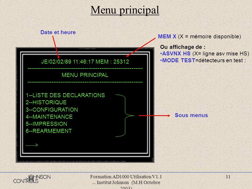 Formation AD1000 Utilisation V1.1... Institut Johnson (M.H Octobre 2003) 10 Menu principal Le menu principal donne accès aux autres menus. Tous les co