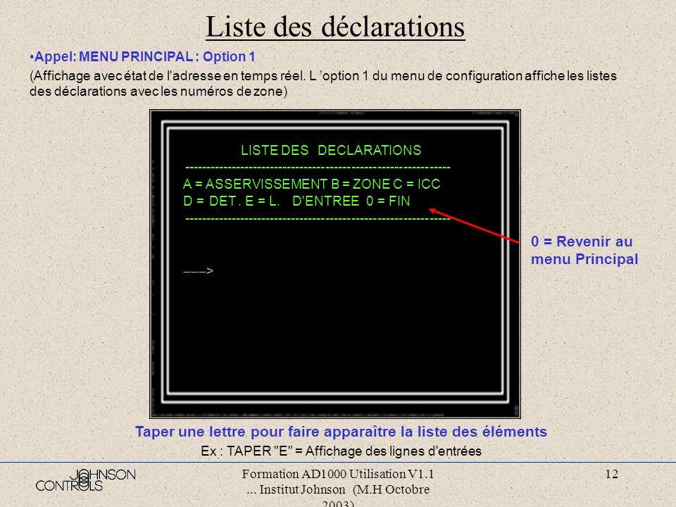 Formation AD1000 Utilisation V1.1... Institut Johnson (M.H Octobre 2003) 11 Menu principal JE/02/02/89 11:46:17 MEM : 25312 --------------------------