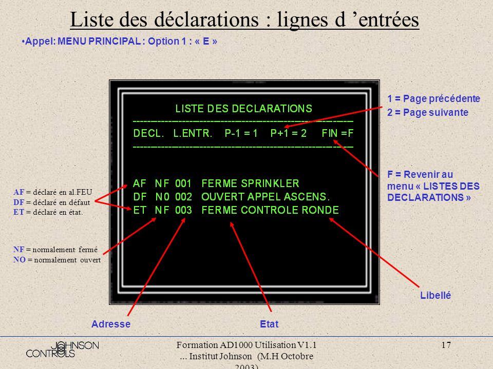 Formation AD1000 Utilisation V1.1... Institut Johnson (M.H Octobre 2003) 16 Liste des déclarations : détecteurs Appel: MENU PRINCIPAL : Option 1 : « D