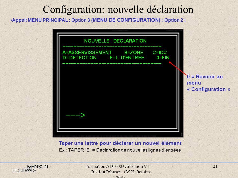 Formation AD1000 Utilisation V1.1... Institut Johnson (M.H Octobre 2003) 20 Configuration: Appel (avec code d accès) : MENU PRINCIPAL : Option 3 : JE/