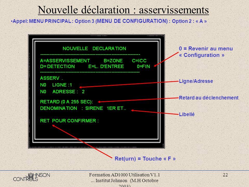 Formation AD1000 Utilisation V1.1... Institut Johnson (M.H Octobre 2003) 21 Configuration: nouvelle déclaration Taper une lettre pour déclarer un nouv