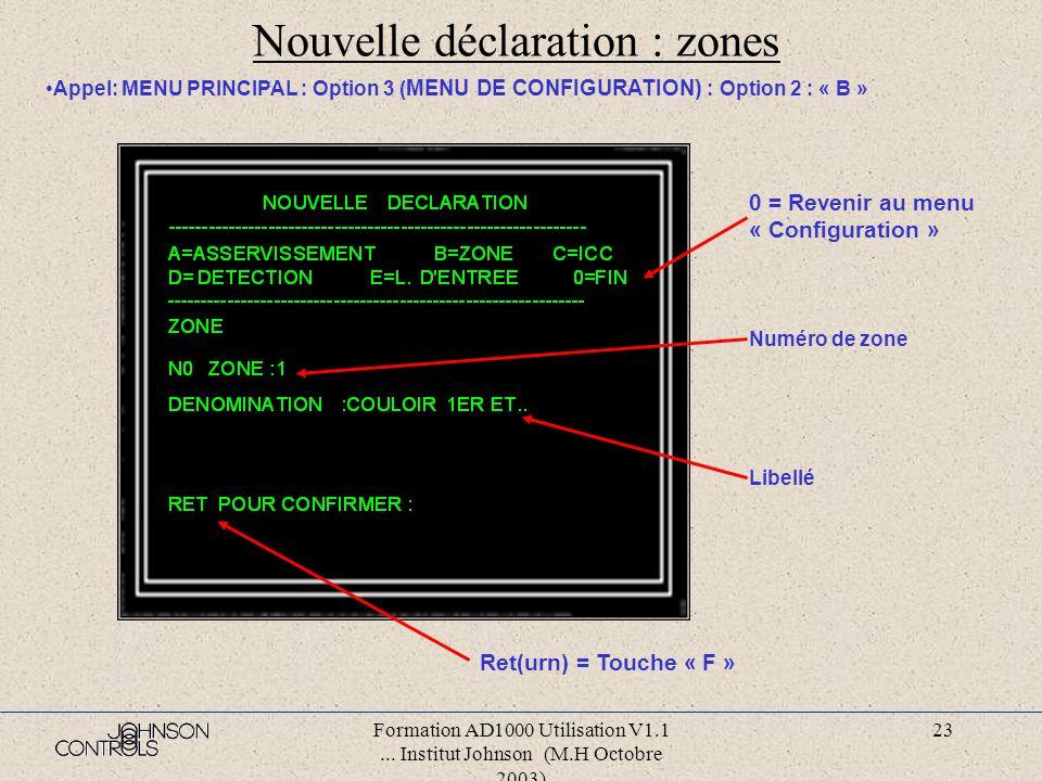 Formation AD1000 Utilisation V1.1... Institut Johnson (M.H Octobre 2003) 22 Nouvelle déclaration : asservissements Appel: MENU PRINCIPAL : Option 3 (
