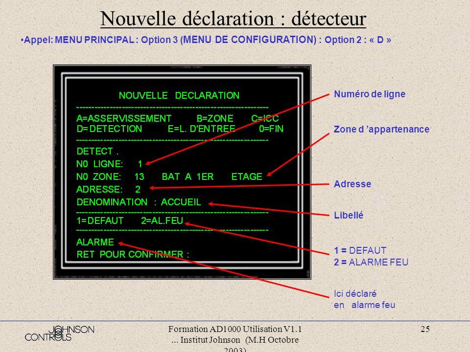 Formation AD1000 Utilisation V1.1... Institut Johnson (M.H Octobre 2003) 24 Nouvelle déclaration : icc Appel: MENU PRINCIPAL : Option 3 ( MENU DE CONF