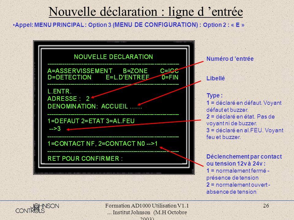 Formation AD1000 Utilisation V1.1... Institut Johnson (M.H Octobre 2003) 25 Nouvelle déclaration : détecteur Appel: MENU PRINCIPAL : Option 3 ( MENU D