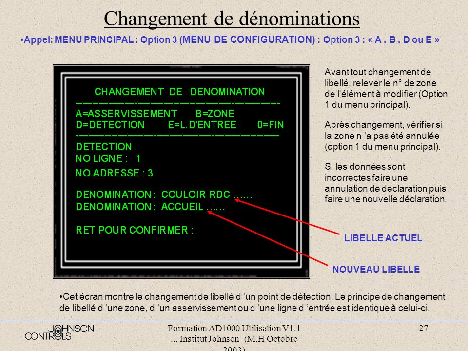 Formation AD1000 Utilisation V1.1... Institut Johnson (M.H Octobre 2003) 26 Nouvelle déclaration : ligne d entrée Appel: MENU PRINCIPAL : Option 3 ( M