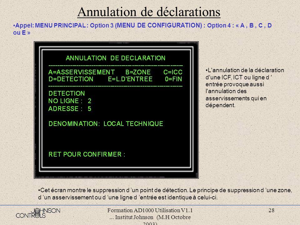 Formation AD1000 Utilisation V1.1... Institut Johnson (M.H Octobre 2003) 27 Changement de dénominations Appel: MENU PRINCIPAL : Option 3 ( MENU DE CON