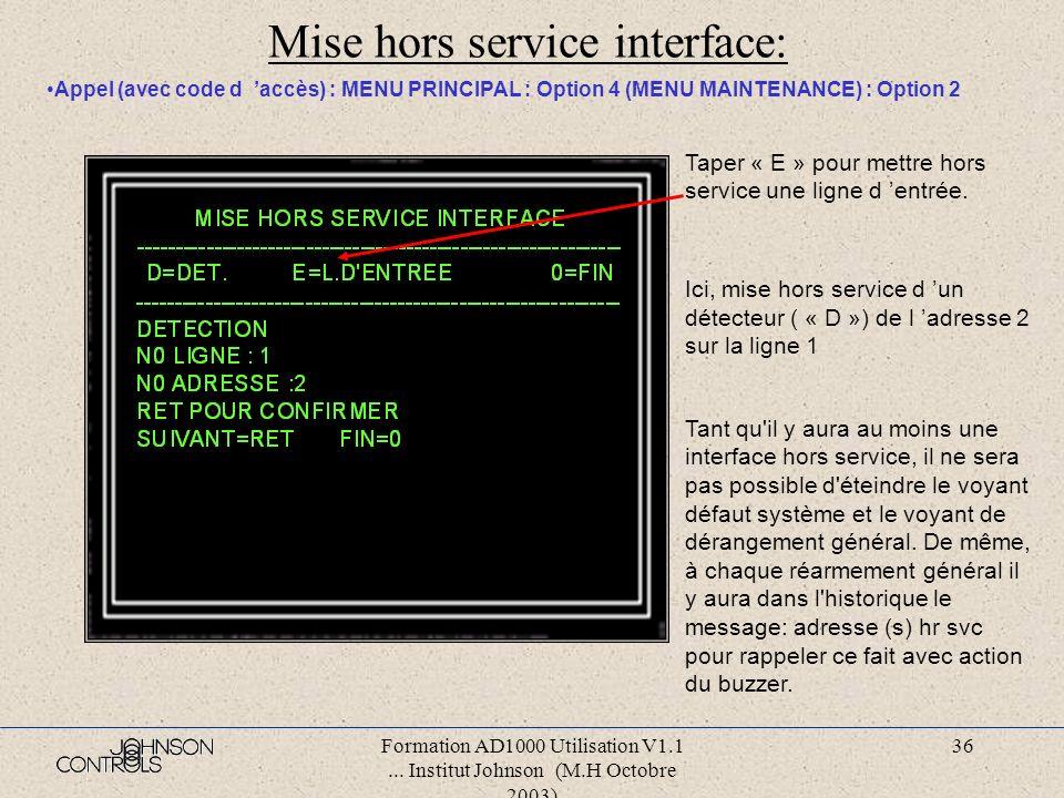 Formation AD1000 Utilisation V1.1... Institut Johnson (M.H Octobre 2003) 35 Menu maintenance: Appel (avec code d accès) : MENU PRINCIPAL : Option 4 :