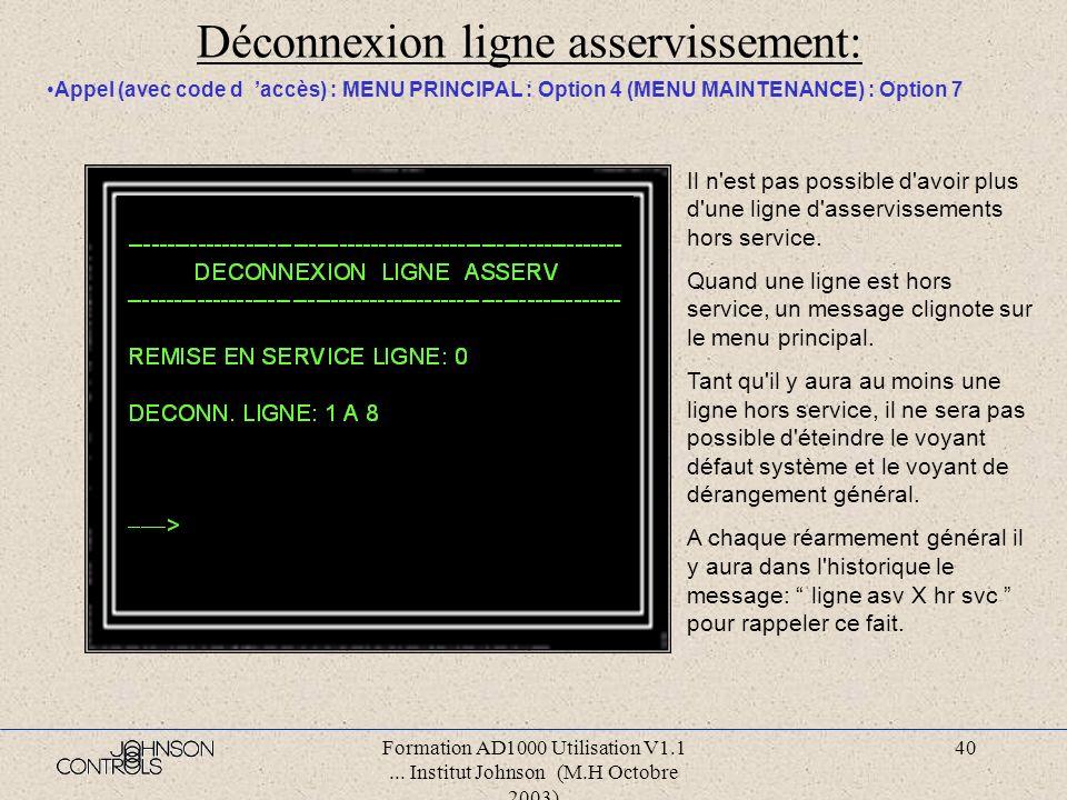 Formation AD1000 Utilisation V1.1... Institut Johnson (M.H Octobre 2003) 39 Asservissement manuel: Appel (avec code d accès) : MENU PRINCIPAL : Option