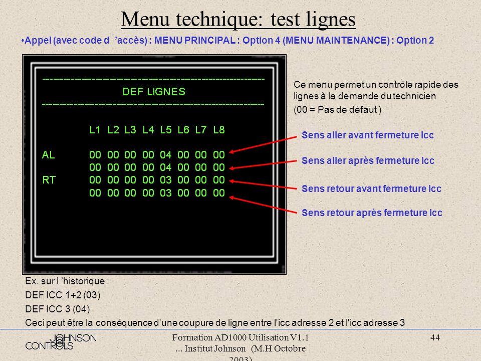 Formation AD1000 Utilisation V1.1... Institut Johnson (M.H Octobre 2003) 43 Menu technique: test détecteurs Appel (avec code d accès) : MENU PRINCIPAL