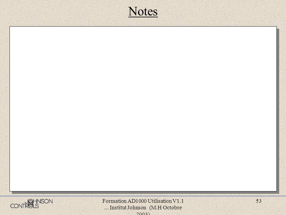 Formation AD1000 Utilisation V1.1... Institut Johnson (M.H Octobre 2003) 52 Notes