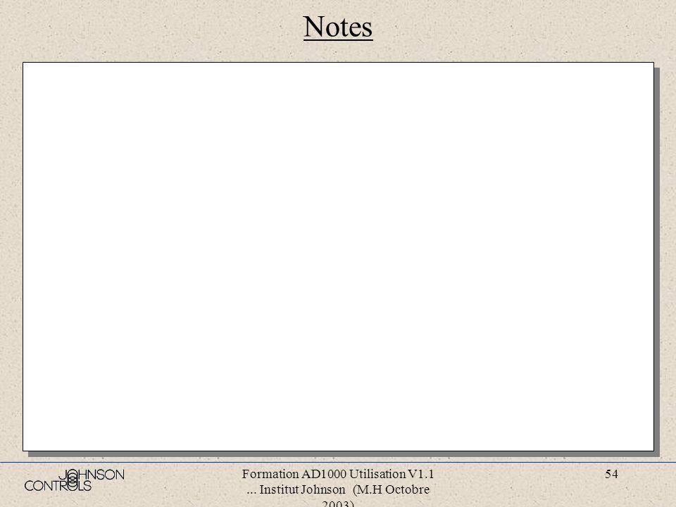Formation AD1000 Utilisation V1.1... Institut Johnson (M.H Octobre 2003) 53 Notes